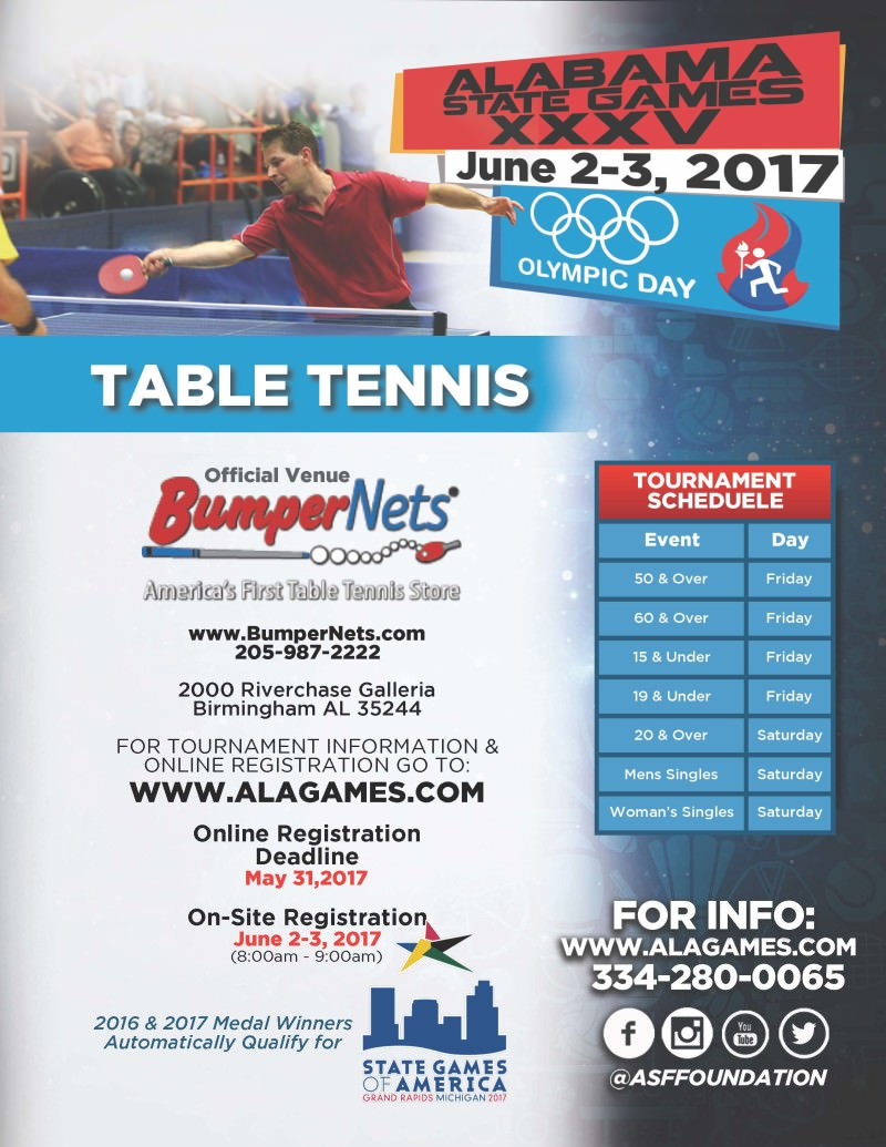 Alabama State Games Table Tennis Competition